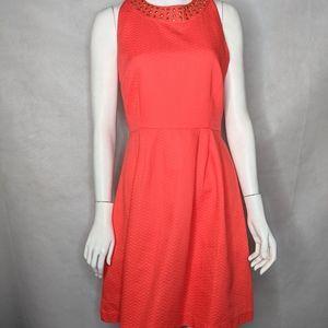 Orange Cotton Flirty Fit n Flare Dress With Studs